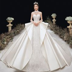 Nov 2019 - Luxury / Gorgeous Champagne Satin See-through Wedding Dresses 2020 Ball Gown High Neck Long Sleeve Backless Handmade Beading Appliques Lace Cathedral Train Ruffle Luxury Wedding Dress, Princess Wedding Dresses, Dream Wedding Dresses, Wedding Gowns, Gorgeous Wedding Dress, Perfect Wedding, Ball Gown Dresses, Bridal Dresses, Fantasy Dress