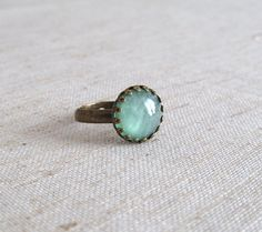 Mint Green Sparkle Resin Ring  Antique Bronze by naryaboutique, $11.00