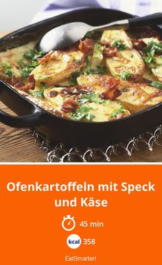 Baked potatoes with bacon and cheese – smarter – calories: 358 kcal – time: 45 min eatsmarter.de Baked potatoes with bacon and cheese – smarter – calories: 358 kcal – time: 45 min eatsmarter. Casserole Dishes, Casserole Recipes, Homemade Pesto Sauce, Tapas, Baked Vegetables, Cooking On The Grill, Queso, Bacon, Food Porn