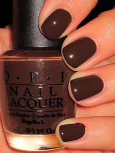 """OPI """"Suzi Loves Cowboys"""" from the Texas Collection. Chocolate nails for fall! Love me some OPI Fall Nail Colors, Nail Polish Colors, Winter Colors, Cute Nails, Pretty Nails, Brown Nails, Opi Nails, Polish Nails, All Things Beauty"""