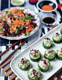 The Art of Eating Well . Free tutorial with pictures on how to roll maki sushi in under 45 minutes by cooking with crabmeat, avocado , and spring onions. Recipe posted by Ebury Publishing. in the Recipes section Difficulty: Simple. Cucumber Avocado Rolls, Hemsley And Hemsley, Crab Rolls, Cooking Recipes, Healthy Recipes, Bean Recipes, Best Appetizers, Healthy Eating, Healthy Food