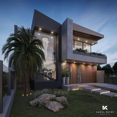 Residence ANF Design & Visualization by Karol Petry Arquitetura Modern Exterior House Designs, Modern House Facades, Modern Villa Design, Dream House Exterior, Modern House Plans, Modern Architecture House, Exterior Design, Architecture Design, Luxury Homes Exterior