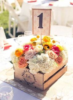centre de table cagette bois fleurs