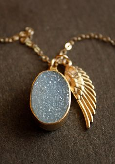 Aqua Blue Druzy and Angel Wing Charm Necklace  14KT Gold by OhKuol, $69.00