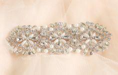 Silver Pearl Beaded Crystal Rhinestone by IselleDesignStudio, $18.00