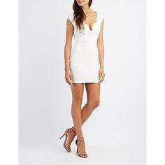 White Lace-Up Back Bodycon Dress - Size XS