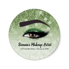 Green glam lashes eyes | makeup artist classic round sticker - diy cyo customize create your own #personalize