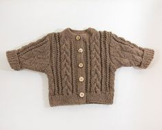 Chunky Cable Knit Baby Jacket Hand Knitted Baby by SasasHandcrafts