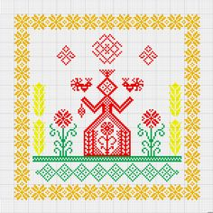 Folk Embroidery, Hama Beads, Cross Stitch Patterns, Free Pattern, Diy And Crafts, Projects To Try, Quilts, Crossstitch, Fiber