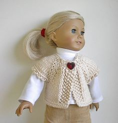 American Girl Doll Clothes Handknit  Sweater Vest in Creamy Offwhite Cotton Blend for 18 Inch Dolls