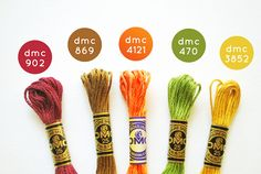 DMC Color Comno: Autumn Brights by wildolive, Update: The orange color is actually 4124.