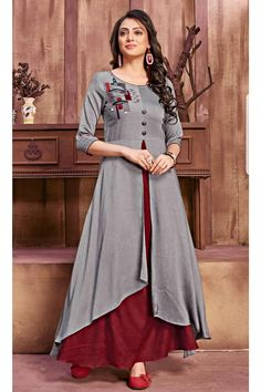 Pure glory designer fancy stylish fabulous rayon with different pattern long gown style kurtis at wholesale price Frock Fashion, Indian Fashion Dresses, Indian Gowns Dresses, Indian Designer Outfits, Designer Dresses, Designer Kurtis, Stylish Dress Designs, Dress Neck Designs, Designs For Dresses