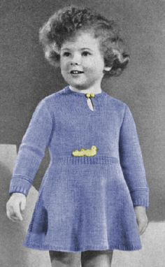 Girls Dress with Flared Skirt Vintage Knitting Pattern for download Sz 2