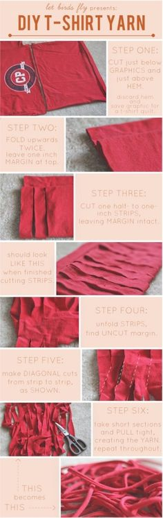 Make yarn from a tee shirt!!  Can't wait to try this with the old tee shirts I've inherited!