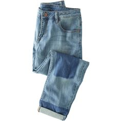 Robyn boyfriend jeans - Wrap London ($150) ❤ liked on Polyvore featuring jeans, ankle length jeans, boyfriend jeans, rolled up jeans, relaxed boyfriend jeans and patching blue jeans