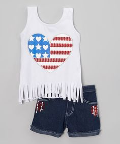 Take a look at the White USA Heart Tank & Jean Shorts - Girls on #zulily today!