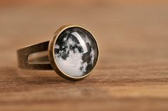 Little full moon ring adjustable ring statement ring by SomeMagic, $9.50