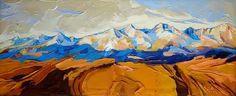 Oblaky nad Tatrami (panoráma od Mengusoviec), www.turzak-art.sk, 120 x 50 cm, akryl a modelovacia pasta na plátne #tatry #mengusovce #umenie #obrazy #panoramatatier #turzakart