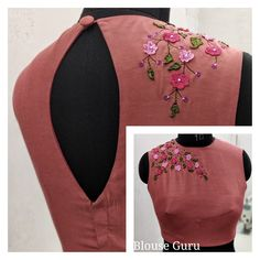 Its look like'Y' shape. Saree Blouse Neck Designs, Simple Blouse Designs, Stylish Blouse Design, Stylish Dress Designs, Bridal Blouse Designs, Embroidery Neck Designs, Embroidery Blouses, Aari Embroidery, Embroidery Dress