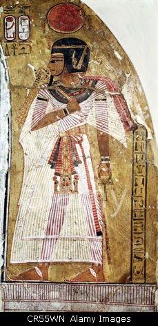 Amenhotep I, King of Egypt 1527 - 1506 BC, full length, 18th Dynasty, fresco
