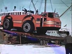 Big Red Tractor in Antarctica : The Antarctic Snow Cruiser was an experimental, behemoth, deep cold, Diesel Electric Hybrid, Antarctic-ready landship designed in the 1930s. It was like a space shuttle for the South Pole. Go to YouTube and read the comments section for a more thorough explanation ...