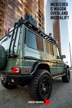 If you've been a fan of the off-road modified Mercedes G-Wagon than you will definitely appreciate this lifted military green equipped with stylish overland gear, mud tires, winch, and other cool stuff. Benz Suv, M Benz, Mercedes G Wagon, Mercedes Benz G Class, Offroad, Overland Gear, Range Rover Classic, Custom Jeep, Camper