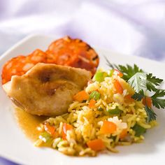 Découvrez la recette Lapin au riz safrané sur cuisineactuelle.fr.