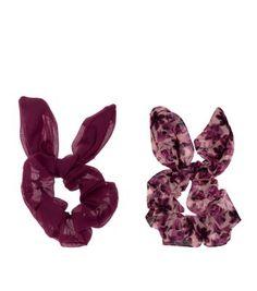 2 Pack Pink Floral Print Scruchies
