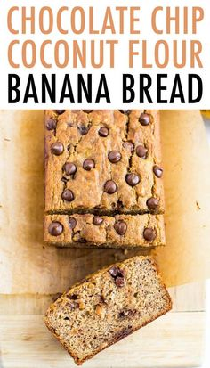 Chocolate Chip Coconut Flour Banana Bread This coconut flour banana bread can be mixed together all in one bowl with 10 simple ingredients. It's sweetened only with bananas, but still deliciously sweet! Banana Bread Almond Flour, Flours Banana Bread, Gluten Free Banana Bread, Healthy Banana Bread, Banana Bread Recipes, Coconut Flour Muffins, Coconut Flour Cakes, Raisin Bread, Coconut Flour Recipes