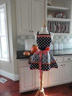 Trick or Treat  - Cute Fall or Halloween Women's Apron - Retro Modern Kitchen Apron ~ 4RetroSisters