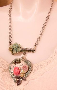 Je T'aime Heart Necklace, I Love You, French, Artisan Made, Old Key, B'sue Boutiques