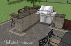 Rear Paver Patio Design with Pergola, Fireplace and Bar | 900 sq ft | Download Installation Plan, How-to's and Material List @Mypatiodesign.com