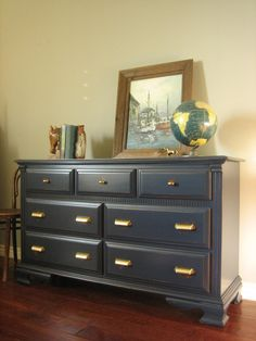 INSPIRATION:  Europaint Finishes.  Beautiful dresser similar to Pottery Barn in style.  It looks black but is NAVY BLUE in color, lightly distressed and glazed finish. Brass bin pulls and brass knobs.