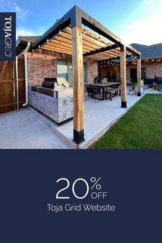 Diy Pergola Kits, Outdoor Pergola, Backyard Pergola, Backyard Landscaping, Outdoor Kitchen Patio, Outdoor Rooms, Outdoor Living, Backyard Patio Designs, Pergola Designs