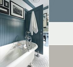This beadboard wainscotting called for a blue with a bit of country, so Mitchell chose Benjamin Moore's Normandy (2129-40) and paired it with bright Ultra White (CC-10) walls. The result is fresh and clean, perfect for a bathroom.