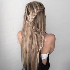 Curvy Half Up Waterfall Braid