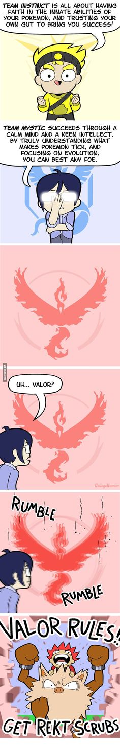 Pokemon go teams....... Team valor b*tches << XD REKT SCRUBS! << lmao team Mystic is the best