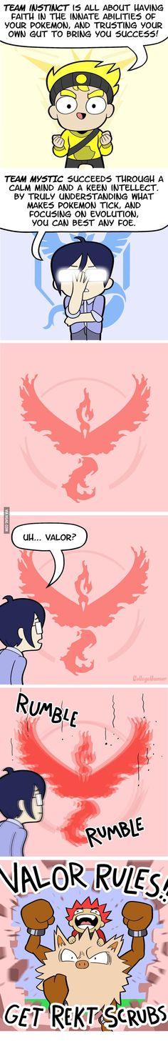 Pokemon go teams....... Team valor b*tches << XD REKT SCRUBS!