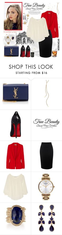 """Happiness comes within & belong to us"" by kitty-kat9 ❤ liked on Polyvore featuring Yves Saint Laurent, Jennifer Zeuner, Christian Louboutin, Preen, Alexander McQueen, Chelsea Flower, Emporio Armani, Jacquie Aiche, Accessorize and Diptyque"