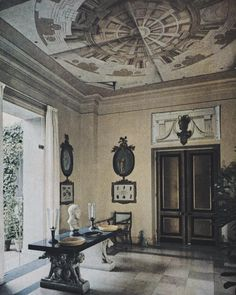 The entrance hall of 'La Fiorentina', the Cap Ferrat home of Lady Kenmare and her son, the incomparable, Rory Cameron. Vogue, September 1958.