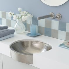 Copper Lavatory Sinks - Native Trails - Calypso - Brushed Nickel Finish or Antique Finish - Hand Hammered Copper Sink - Apron Front Grey Bathrooms, Beautiful Bathrooms, Modern Bathroom, Modern Sink, Classic Bathroom, Copper Bathroom, Undermount Bathroom Sink, Bathroom Sinks, Copper Sinks