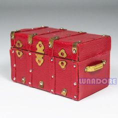 | eBay Treasure Chest Vintage Leather Case Box Wooden Miniature Doll House Accessory