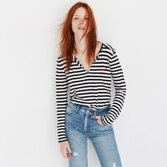 "Fashioned of light and airy Whisper Cotton fabric, this split-neck version of our best-selling tee is live-in-it soft and perfectly draped—one to tell your friends about, in other words. Bonus: This striped version is embroidered with ""mwah"" (as in the sound of you blowing a kiss at the mirror when you wear it)."