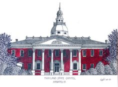 Maryland State Capitol building in Annapolis.  More info at http://frederic-kohli.artistwebsites.com.
