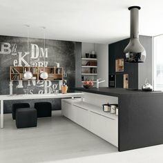 modern black & white kitchen
