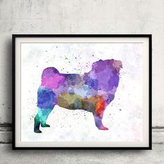 Pug 02 in watercolor  Fine Art Print Glicee by AnimalArtPosters