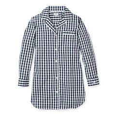 It's a fact: Kiddo's dreams are sweeter in cute pajamas, and we love Petite Plume's adorable collection of soft and cozy sleepwear. This gingham nightshirt features navy piping and pearl buttons. Sleepwear & Loungewear, Sleepwear Women, Pajamas Women, Blue Gingham, Navy Blue, Night Gown, Pajama Set, Lounge Wear, Shirt Dress