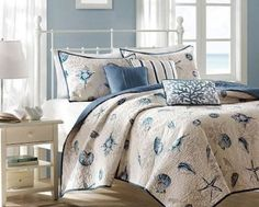 Madison Park Bayside King Size Quilt Bedding Set Blue Khaki Seashells 6 Piece Bedding Quilt Coverlets 100 Cotton Sateen Bed Quilts Quilted Coverlet *** Check out this great product. (This is an affiliate link) Comforter Sets, Coverlet Bedding, Nautical Bedding Sets, Home Essence, Coverlets, Nautical Bedding, Coastal Bedrooms, Bedding Sets, Beach Bedding