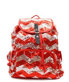 98ec05d11378 Chevron Sequin Backpack Redsilver     Click image for more details. Sequin  Backpack