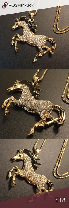 "Crystal Horse Long Necklace 23"" New Brand New zdazzled Jewelry Necklaces"